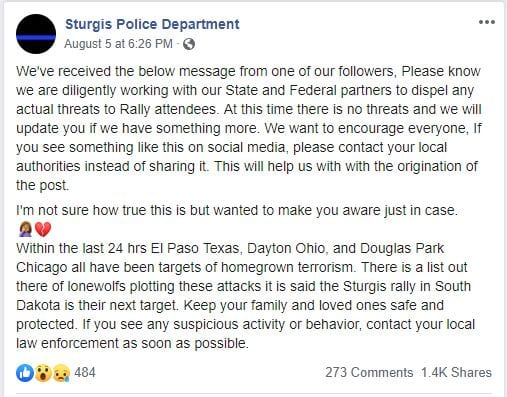 Sturgis Police Department Terror Threat at Motorcycle Rally Warning