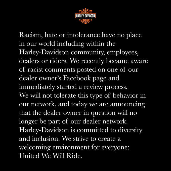 Harley-Davidson statement on Franchise Dealer Racist Social Media Post